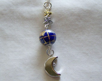 Blue Lapis and Gemstone Planet Earth Celestial Pendant