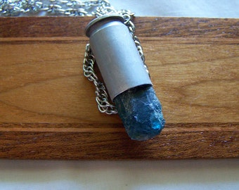 Blue Apatite Natural Raw Gemstone Bullet Pendant