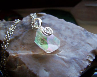 Angel Aura Danburite Crystal Wire Wrapped Pendant