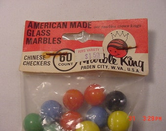Vintage Marble King American Made Glass Marbles For Chinese Checkers Game  16 - 563