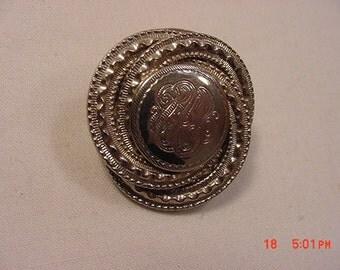 Vintage Etched Scarf Holder / Brooch  16 - 839