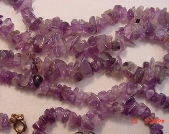 Vintage Purple Polished Stones Necklace 2 Bracelets & Pierced Earring Set.  17 - 321