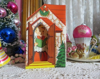 Vintage Retro Mid Century Christmas Greeting Card-Cute Choir Boy-Unused-Childrens-Stand-Up-3-D