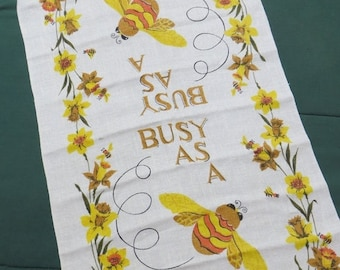 Going Out Of Business Vintage Kitchen Tea Towel-Busy as a Bee-Mid Century-Eames-Whimsical-Unused