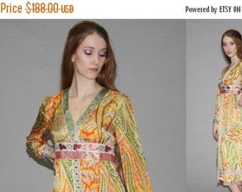40% Limited time SALE  - Vintage 1960s Designer Eloise Curtis Ethnic Metallic Graphic Floral Dress   -  60s Hippie Festival Dress  -  Metall