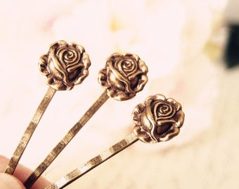 Romantic Rose bobby pins-medieval-shabby chic-steampunk-Victorian V040