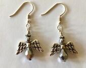 Silver Angel Earrings teardrop Sterling silver earwires
