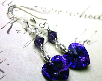 ON SALE Wire Wrapped Swarovski Crystal Heart Earrings in Heliotrope Purple - Heart Earwires - Sterling Silver and Swarovski Crystal