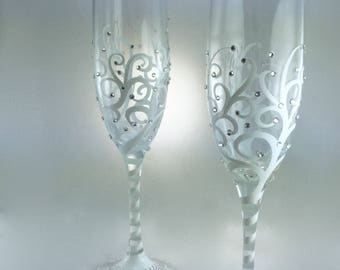 Wedding Toasting Flutes, personalized, hand painted champagne glasses with swirls and crystals design