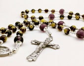 Italian Millefleur Glass Bead and Swarovski Crystal Rosary Free Shipping this Month!