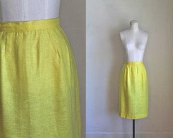 vintage 1960s skirt - LEMON yellow pencil skirt / M