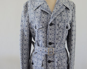 Vintage 70s Imperial weather wear blue pattern trench coat raincoat jacket