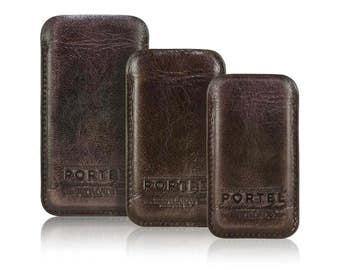 iPhone RETROMODERN aged leather sleeve - - DARKBROWN