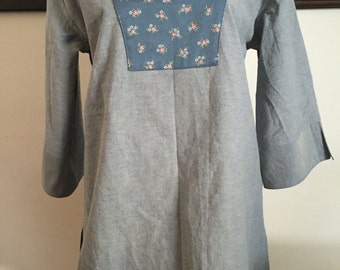 Ladies Blue and Floral Trimmed Tunic Top Cotton Fabrics Hand Made Ladies Size Medium 8-10 #4076