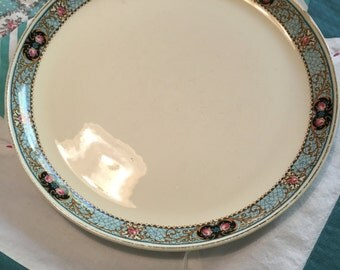 Vintage Dinner Plate Cavitt Shaw Blue Rim Pink Roses GEO458 W S George Made in The USA #4077