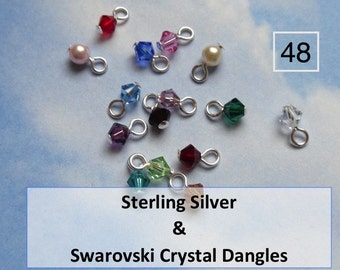 48 (Forty eight) 4mm sterling silver wrapped Swarovski crystal bicone or round pearl dangles - simple loop - charms for jewelry making