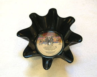 KISS Band Vinyl Record Bowl Made From Repurposed Album -  Gene Simmons, Paul Stanley