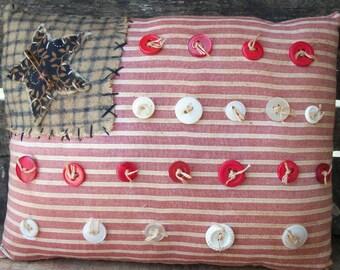 Country Primitive Americana homespun Patriotic flag pillow