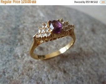Amethyst and Crystal Gold Plate Ring, Classic Ring, Amethyst ring, Petite Ring