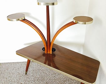 Mid Century Plant Stand Display Table Space Age Vintage German Flower Bench Side Table End Table