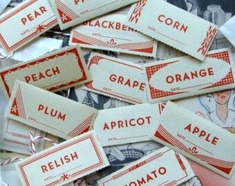 1940s Dennison unused Canning Jar Gummed Labels One Dozen Collage Work Upcycle Photography Prop Paper Ephemera