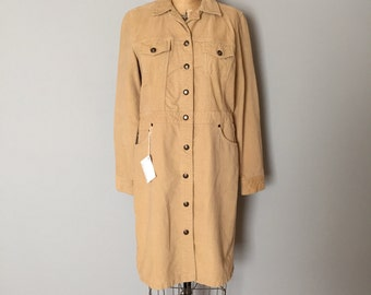 90s camel corduroy dress | button down pocket shirtdress