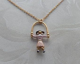 Jumping Girl Necklace, Jumprope Necklace, Gift for Her