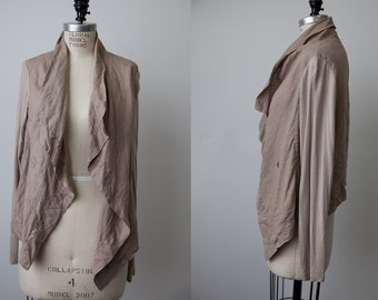 Natural Beige Taupe Linen Jacket with Jersey Sleeves Draped S-M