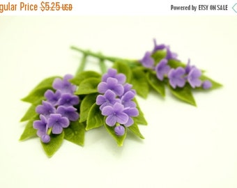 Miniature Polymer Clay Flowers Supplies Purple Lilac 3 bunches