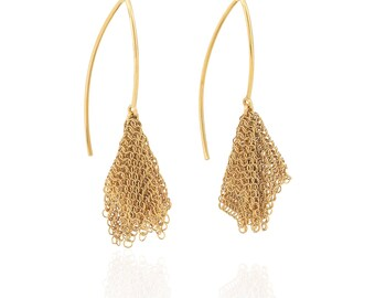 Array Gold Mesh Draping Earrings by Ashley Childs