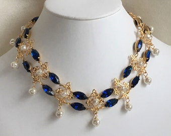Renaissance Style Choker with Capri Blue Rhinestones and Glass Pearl Accents
