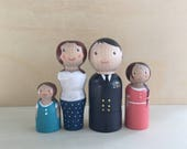 Hand Painted Wooden Peg Doll Family