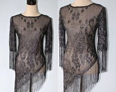 SALE SHEER Black Tunic Top Vintage 1960s Silver Metallic MESH Floral Blouse & Fringe . Gothic Body Fitting Curvy Sheer Party Top Size Small
