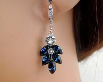 Blue Swarovski Crystal Bridal Earrings Something blue Wedding Earrings swarovski crystal wedding Statement Earrings cluster earrings IVY