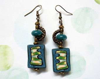 Teal Blue and Green Ethnic Boho Earrings (3185)