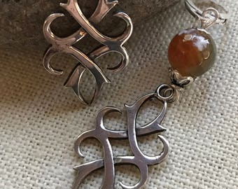 Sterling Silver Fire Agate Celtic Symbol Earrings