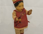 Chinese Asian Composition Doll WWII era 1940s 1930s 10 inches Reserved for Nancy