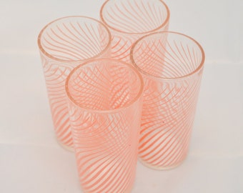 Set of 4 6 oz Juice Glasses in Retro Pink Stripes 1950-70 Kitchen Retro tumblers