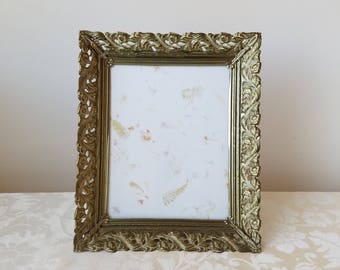 Vintage Gold Metal Picture Frame With Whitewash For 8 x 10 Photo, Ornate Flourishes Pierced Design, Mid Century Wall or Tabletop