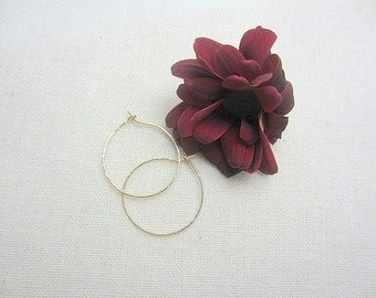 14k Gold Hoop Earrings. Hammered Earrings. Hoops. Minimal Earrings. Bohemian Hoop Earrings - Saga Hoops