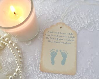 Blue Footprint Candle Tags Baby Shower Candle Favor Tags Set of 10