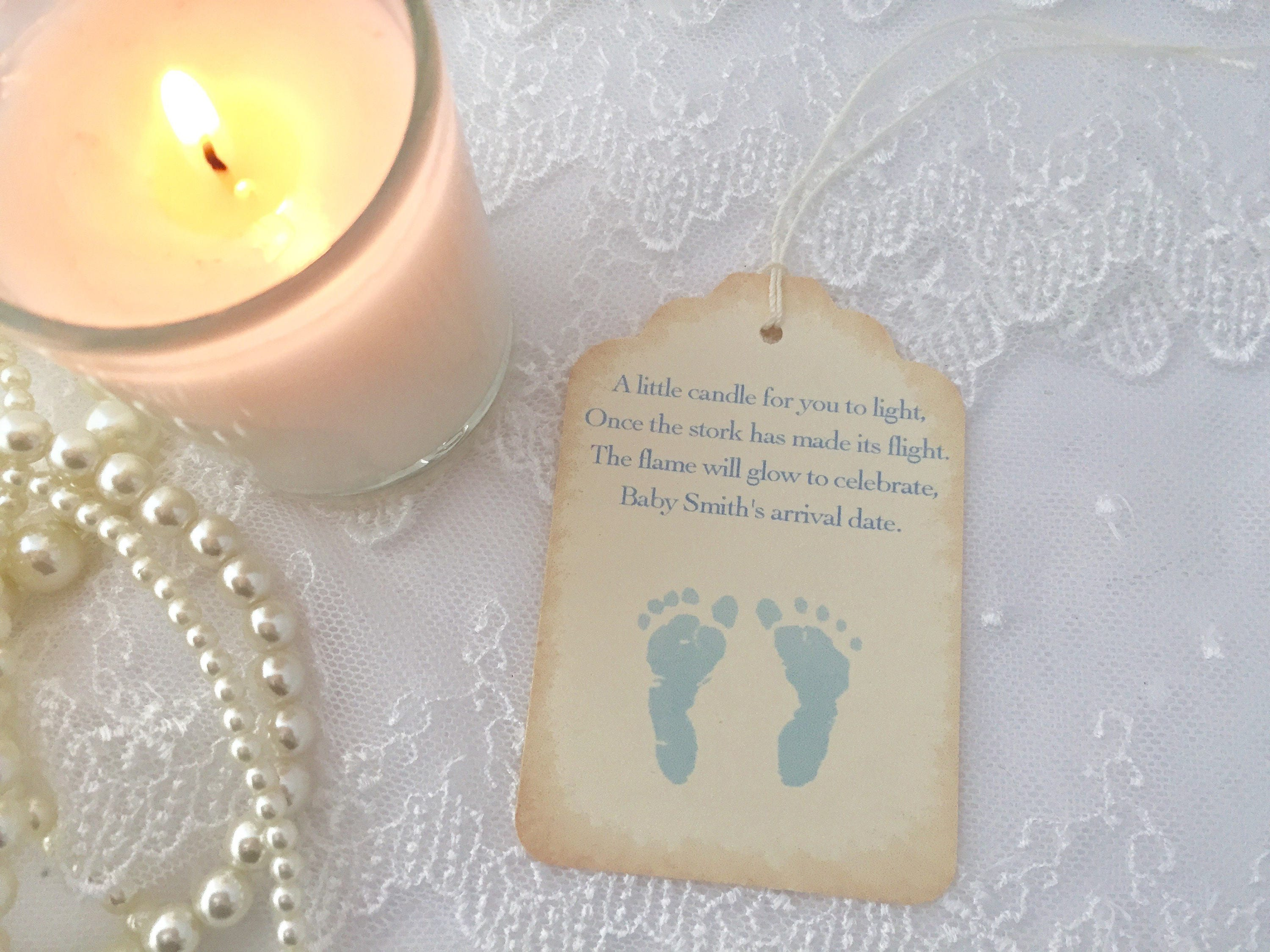 Blue Footprint Candle Tags Baby Shower Candle Favor Tags Set