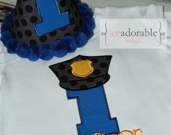 Police Officer Birthday Shirt or Bodysuit, First Birthday Outfit, Smash Cake Outfit, Boys Birthday Shirt and Birthday Hat