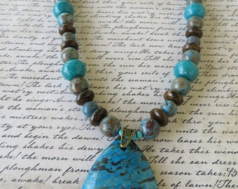 Crazy Lace Agate And Bronzite Beaded Necklace With Agate Pendant