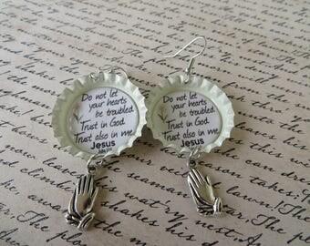 Trust In God Scripture Bottle Cap Earrings