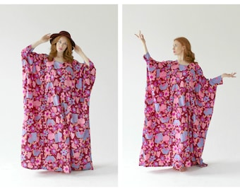 60s Flowy Boho Caftan- Hippie, Floral, S/M, Neon Statement Maxi, Pool Cover Up