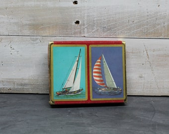 Vintage Plastic Coated Duratone Playing Cards, Sailboat Playing Cards, Deck of Cards