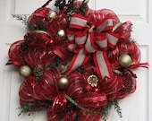 3 Red and Green Deco Mesh Holiday Wreaths