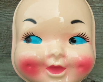 "Large Vintage ""Dimple Face"" Plastic Doll Face Mask - High Gloss Finish"