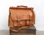 Large Satchel Distressed Tan Leather Duffle Travel Bag w/Shoulder Strap